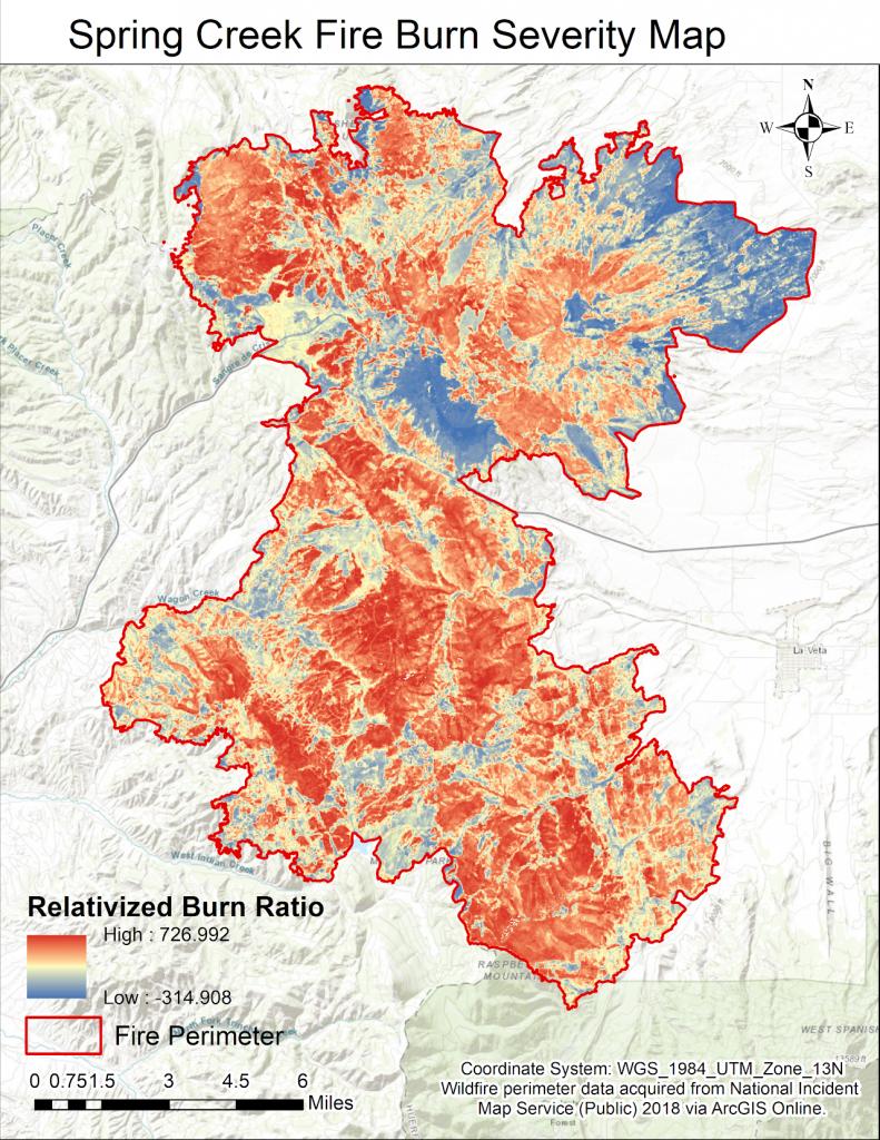 Spring Creek Fire Burn Severity Map