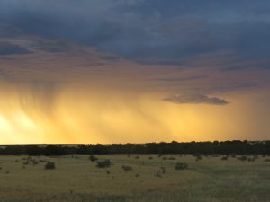 Rain at sunset on high plains